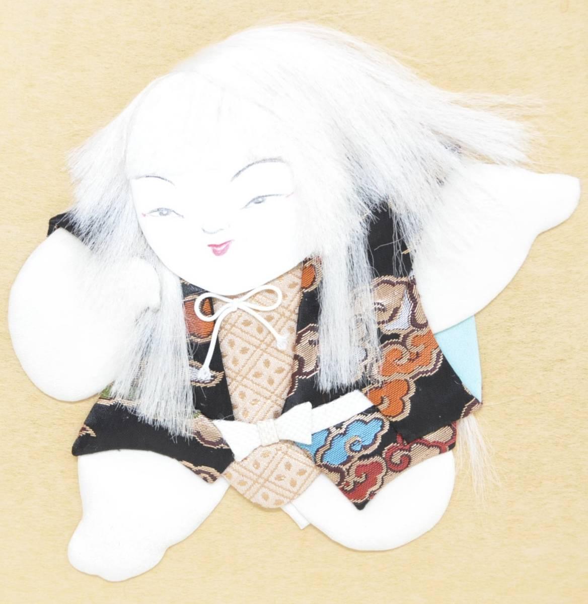 昭和ビンテージ 日本伝統手芸 色紙 押し絵 ハンドメイド 『連獅子』 インテリアにも エステートセール (管理番号:57)_画像3