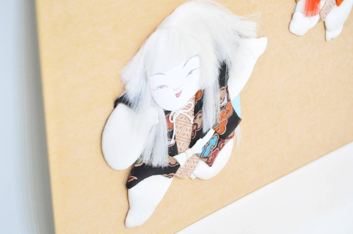 昭和ビンテージ 日本伝統手芸 色紙 押し絵 ハンドメイド 『連獅子』 インテリアにも エステートセール (管理番号:57)_画像4