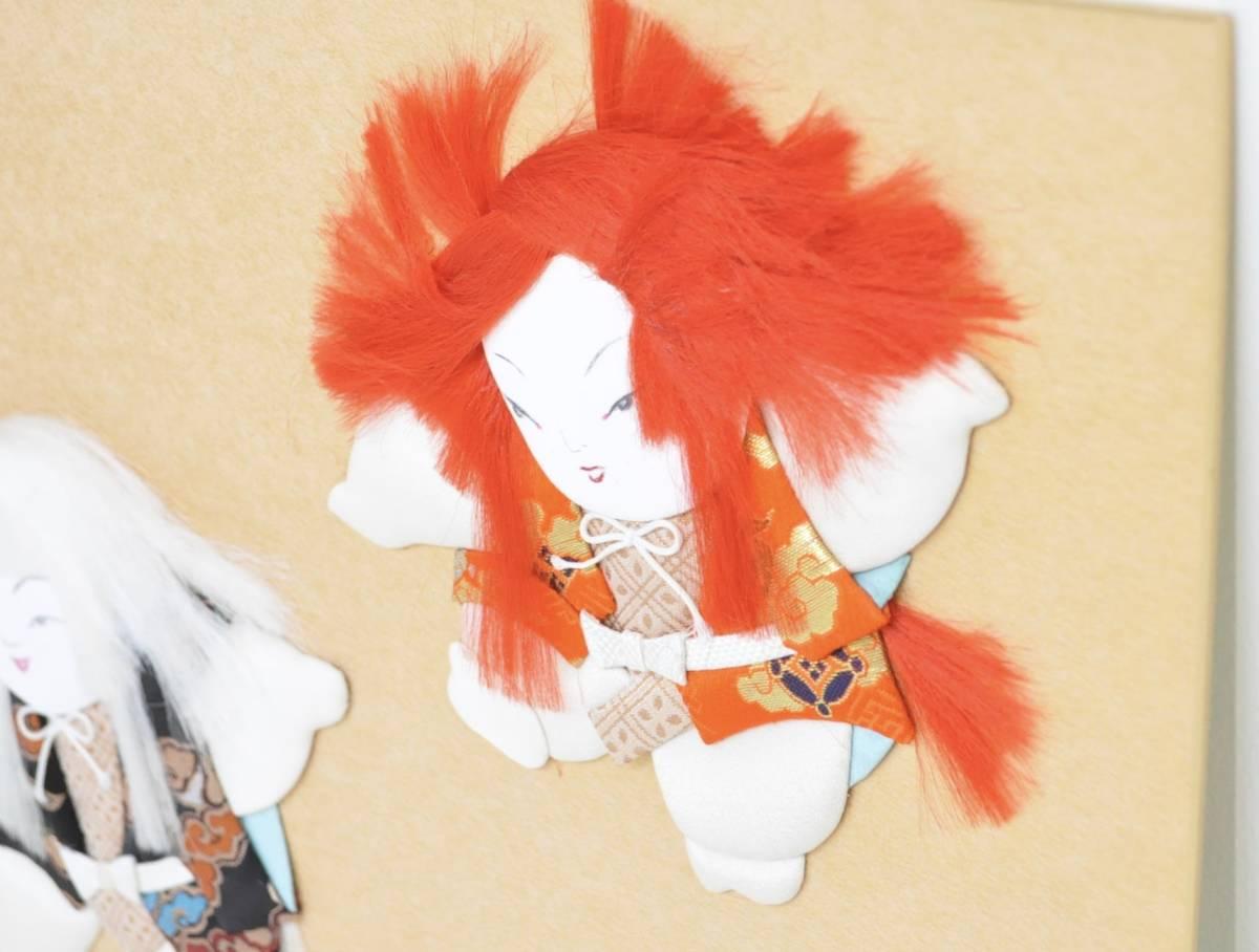 昭和ビンテージ 日本伝統手芸 色紙 押し絵 ハンドメイド 『連獅子』 インテリアにも エステートセール (管理番号:57)_画像5