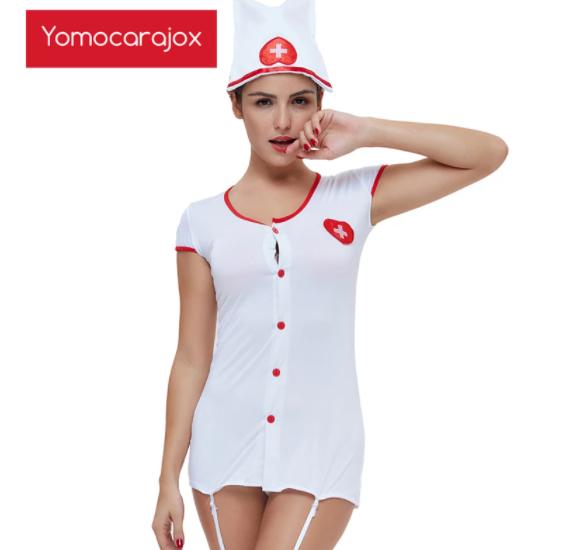新セクシーなホットナースエロ衣装 メイドランジェリーロールプレイ 女性下着ゲームコスプレ制服 ベビードールセックスドレス性的_画像6