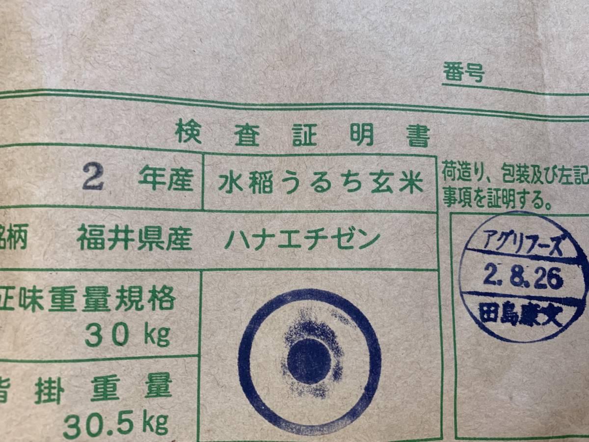 新米!令和2年福井県産検査米1等華越前 玄米25キロ☆送料無料!☆ 2020年産☆_画像2