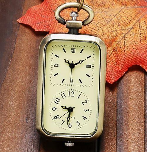 送料無料 ダブル時計 海外旅行に 懐中時計 可愛い アンティーク  チャーム時計  長方形いい_画像1