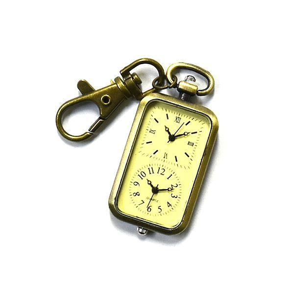 送料無料 ダブル時計 海外旅行に 懐中時計 可愛い アンティーク  チャーム時計  長方形いい_画像3