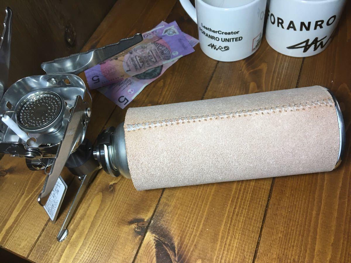 ガス缶(CB缶)250g  牛革spilt床革カバー ★純白ホワイト糸刺繍★