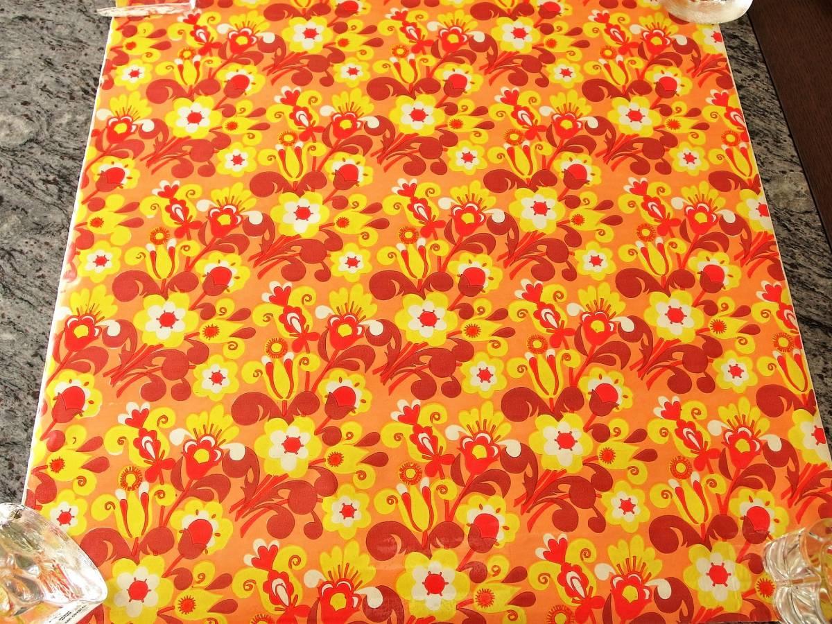 スイス製 ヴィンテージ&レトロ ラッピングペーパー,包装紙 花火の様な花柄_50cm×50cm (数量1)、50㎝単位で延長可能