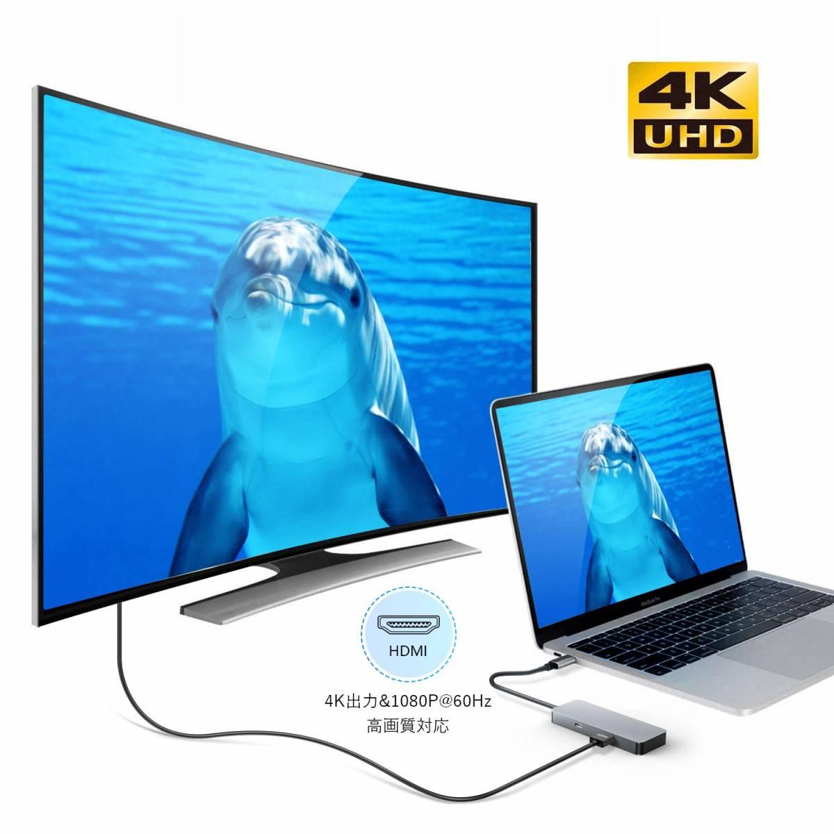 USB C ハブ 7in1 Type C ハブ USB3.0 ハブ HDMI出力 4K対応