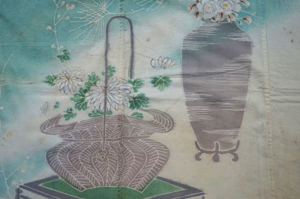 1808A6◆風呂敷◆松竹梅◆花器◆家紋(桔梗)◆木綿古布◆アンティーク◆リメイク素材◆生地◆骨董_画像4