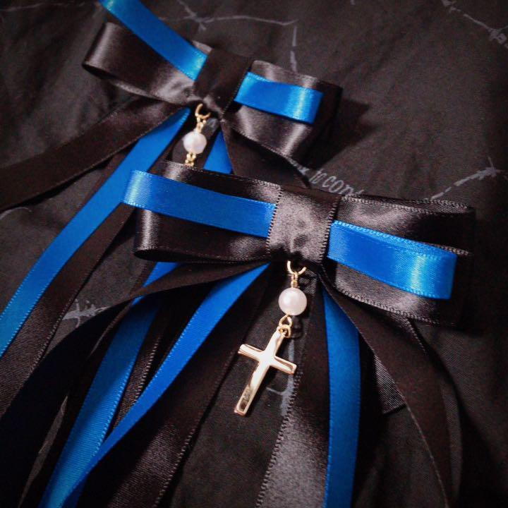 ゆらめき十字架リボン 青 二個セット ヘアアクセサリー ヘアピン ヘアクリップ ゴスロリ ロリータ メイド クラロリ ゆめかわいい_画像2