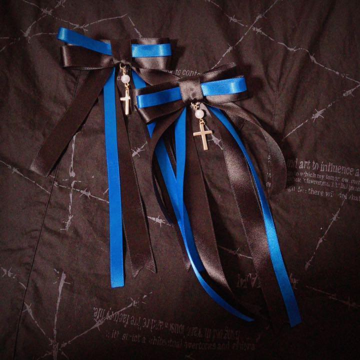 ゆらめき十字架リボン 青 二個セット ヘアアクセサリー ヘアピン ヘアクリップ ゴスロリ ロリータ メイド クラロリ ゆめかわいい_画像1