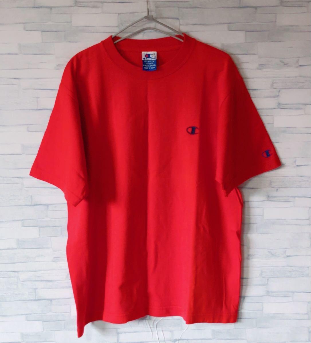 刺繍ロゴ ワンポイント チャンピオン 夏服 メンズ 半袖 Tシャツ Mサイズ