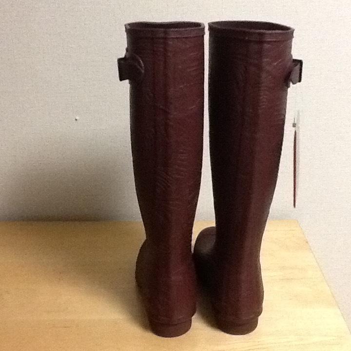 新品未使用 希少 HUNTER ハンター ロングレインブーツ US 5 インチ ブラウン 彫刻柄 (22-23cm) 長さ41cm 長靴_画像5