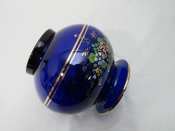 YF10336 【 古い 花瓶 ガラス製 色絵 箱無 】 検) 色ガラス 茶道具 華道具 一輪挿し 花入れ 華道 花器 花生 いけばな 飾り アンティーク ⅱ_画像9