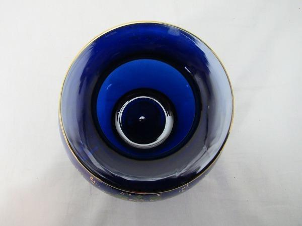 YF10336 【 古い 花瓶 ガラス製 色絵 箱無 】 検) 色ガラス 茶道具 華道具 一輪挿し 花入れ 華道 花器 花生 いけばな 飾り アンティーク ⅱ_画像4