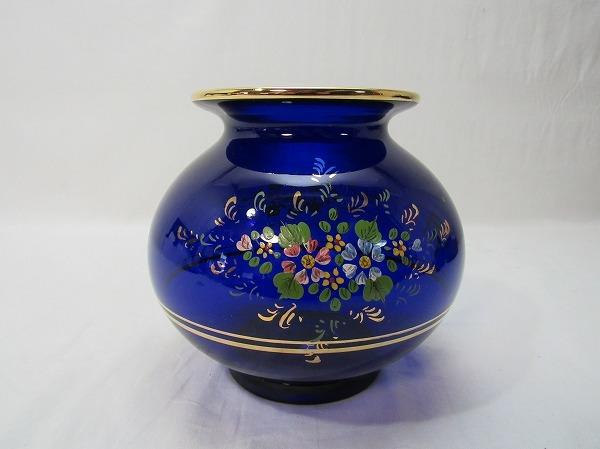 YF10336 【 古い 花瓶 ガラス製 色絵 箱無 】 検) 色ガラス 茶道具 華道具 一輪挿し 花入れ 華道 花器 花生 いけばな 飾り アンティーク ⅱ_画像3