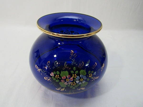 YF10336 【 古い 花瓶 ガラス製 色絵 箱無 】 検) 色ガラス 茶道具 華道具 一輪挿し 花入れ 華道 花器 花生 いけばな 飾り アンティーク ⅱ_画像1