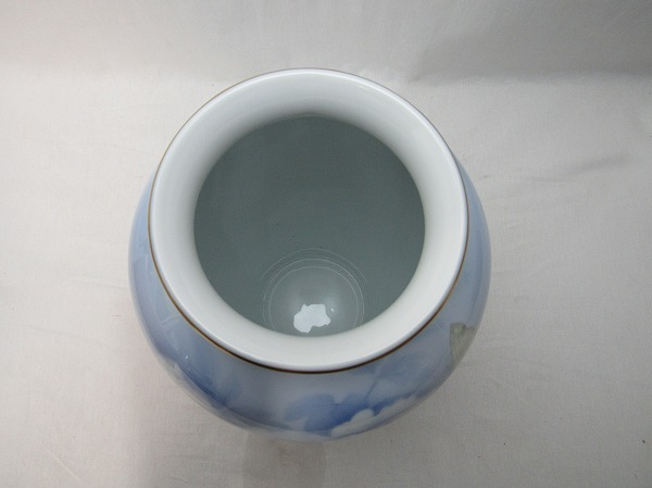 YF10714 【 古い 花瓶 陶器 陶印 官窯染付 深川製 共箱 】 検) 染付 茶道具 茶事 華道具 一輪挿し 花入れ 華道 花器 いけばな 飾り ⅲ  _画像5