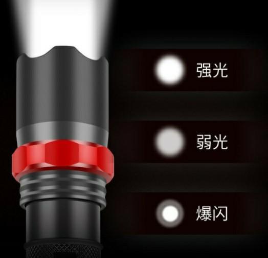 USB☆ケーブル付き☆懐中電灯 led USB充電式 強力 防水 携帯電話充電