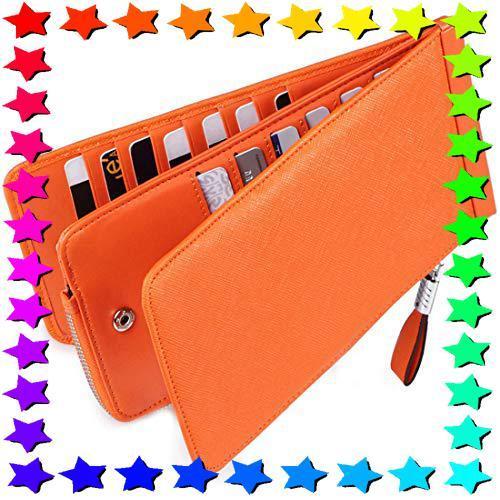Huztencor 長財布 薄型 二つ折り メンズ レディース 磁気防止 カードケース カード26枚 収納 大容量 財布 本革 革_画像1