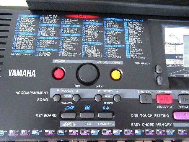 ♪YAMAHA/美品♪ヤマハ/ポータトーン/電子ピアノ/キーボード/PSR-230/GENERAL MIDI/フットスイッチ&イタリア製キーボードスタンド付/USED_すべて英文表示の操作パネル部分。