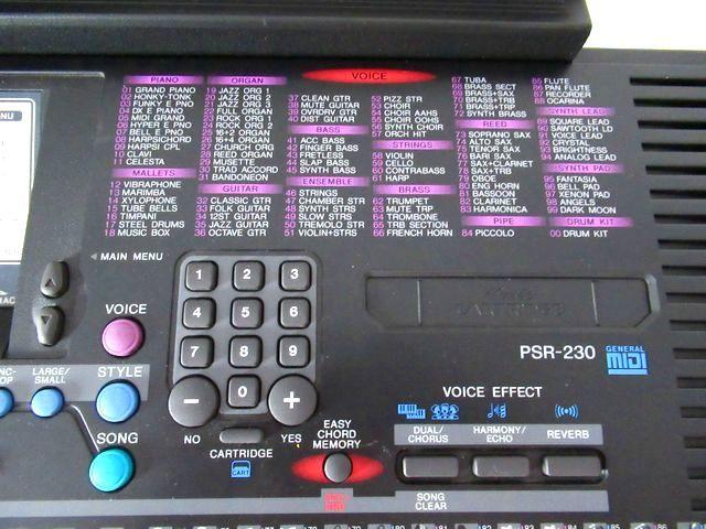 ♪YAMAHA/美品♪ヤマハ/ポータトーン/電子ピアノ/キーボード/PSR-230/GENERAL MIDI/フットスイッチ&イタリア製キーボードスタンド付/USED_付属の和文シートで日本語表記に早変わり!