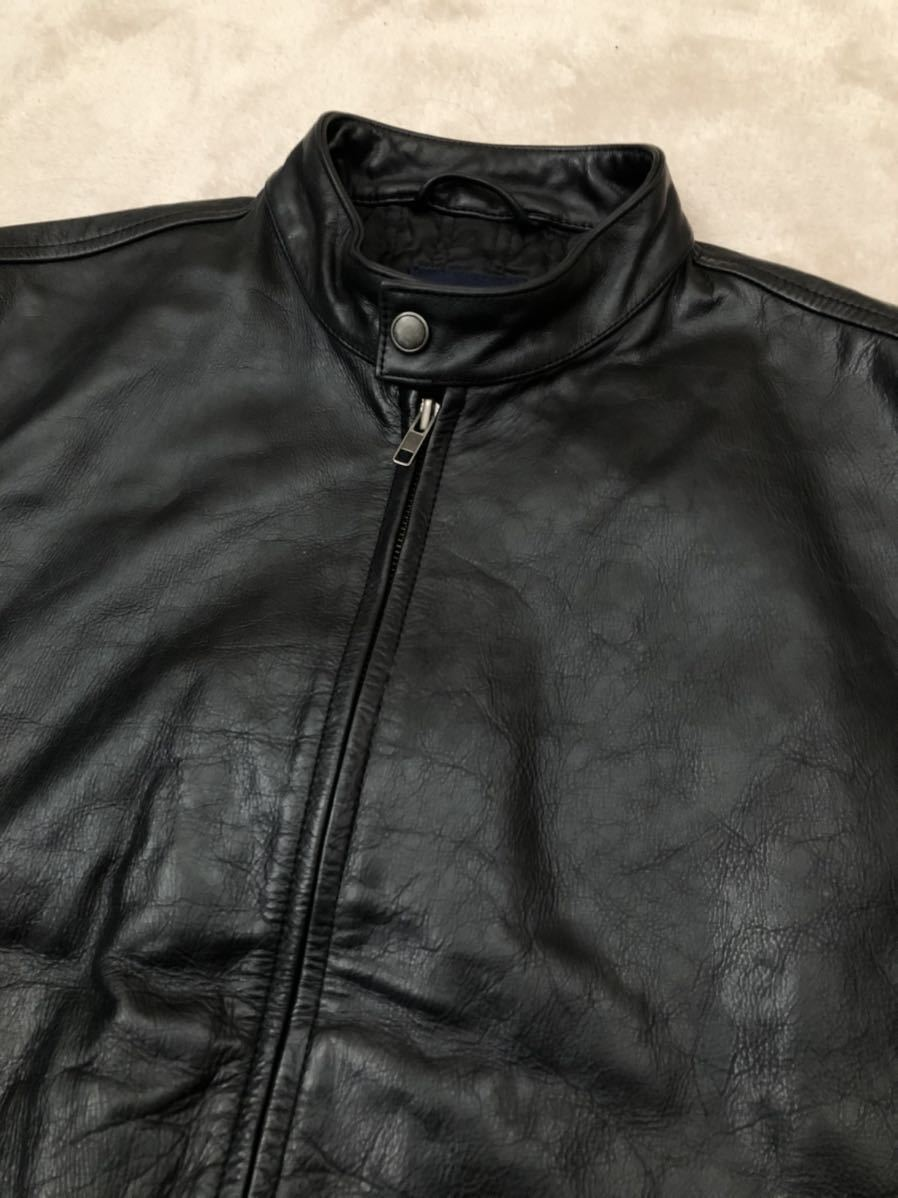 ★ 最終値下げ OLD GAP メンズ 黒 ブラック XS / TP レザージャケット ライダースジャケット 革ジャン レザーブルゾン 本革 牛革 ★_画像4