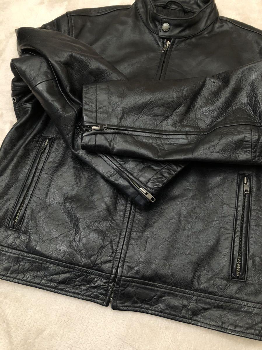 ★ 最終値下げ OLD GAP メンズ 黒 ブラック XS / TP レザージャケット ライダースジャケット 革ジャン レザーブルゾン 本革 牛革 ★_画像5