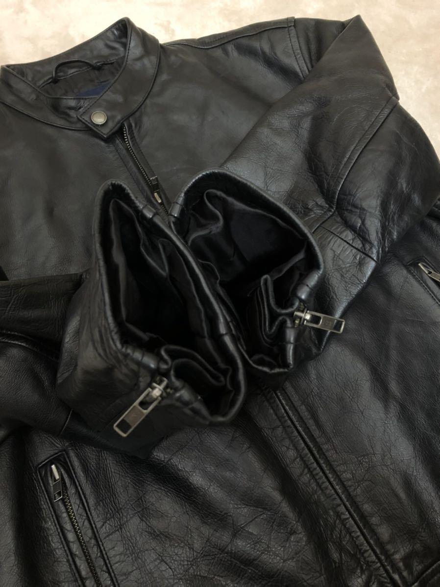 ★ 最終値下げ OLD GAP メンズ 黒 ブラック XS / TP レザージャケット ライダースジャケット 革ジャン レザーブルゾン 本革 牛革 ★_画像9