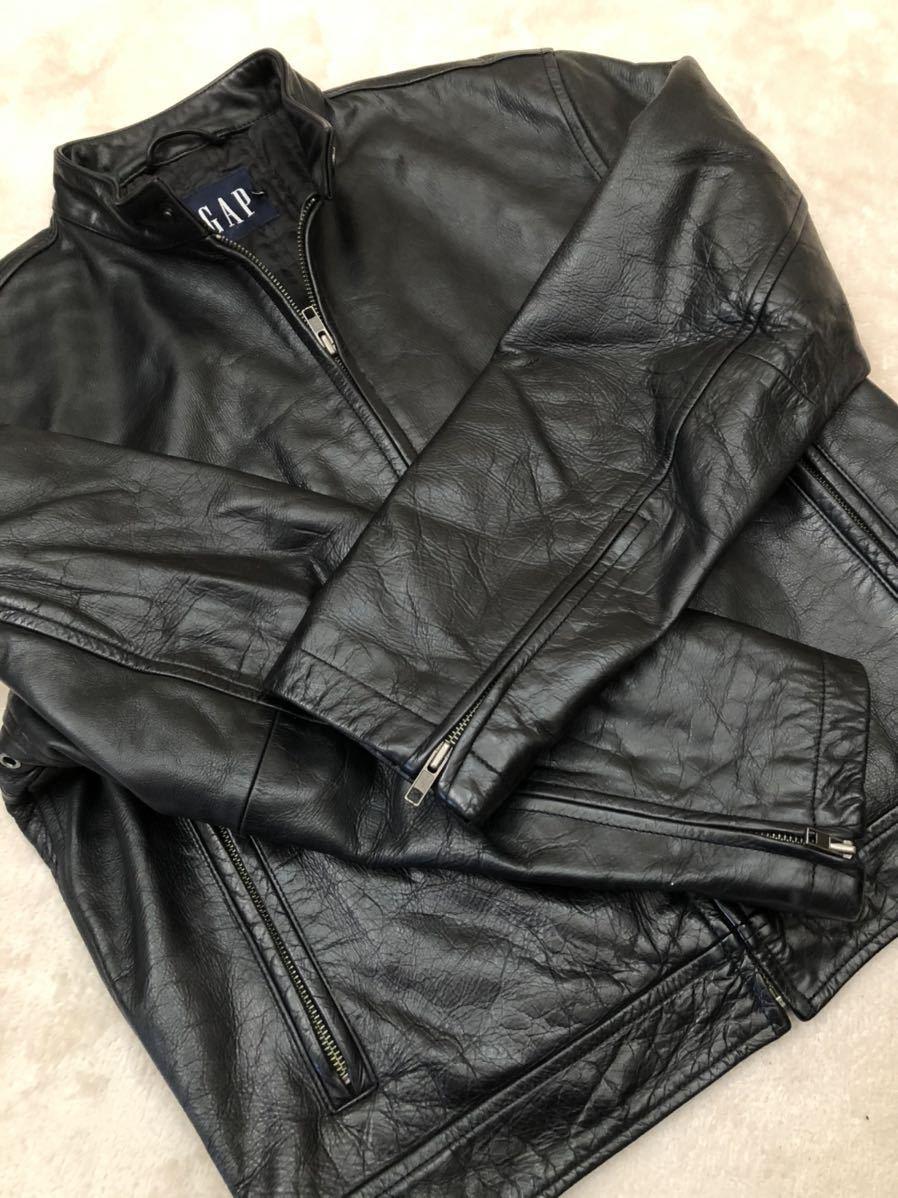 ★ 最終値下げ OLD GAP メンズ 黒 ブラック XS / TP レザージャケット ライダースジャケット 革ジャン レザーブルゾン 本革 牛革 ★_画像1