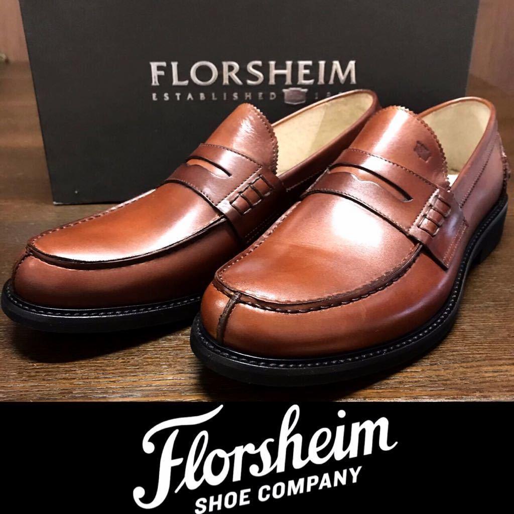 即決【送料0税0】新品 メンズ [UK9]28.0cm相当 4.8万 FLORSHEIM IMPERIAL フローシャイム 革靴 コインローファー モカシン レザーシューズ_画像1