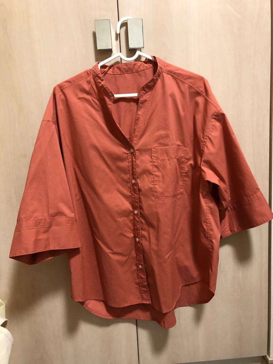 半袖シャツ ブラウン トップス レディース  五部袖 七部育ち シャツ オレンジ