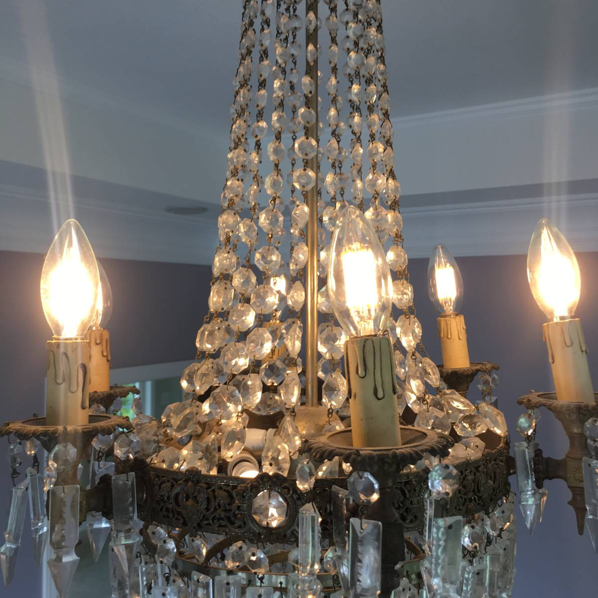 フランスアンティーク シャンデリア 10灯 エンパイア様式 アンティーク照明 アンティーク アンティーク家具 クリスタルシャンデリア_画像5