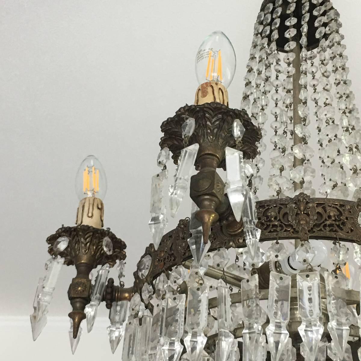 フランスアンティーク シャンデリア 10灯 エンパイア様式 アンティーク照明 アンティーク アンティーク家具 クリスタルシャンデリア_画像8