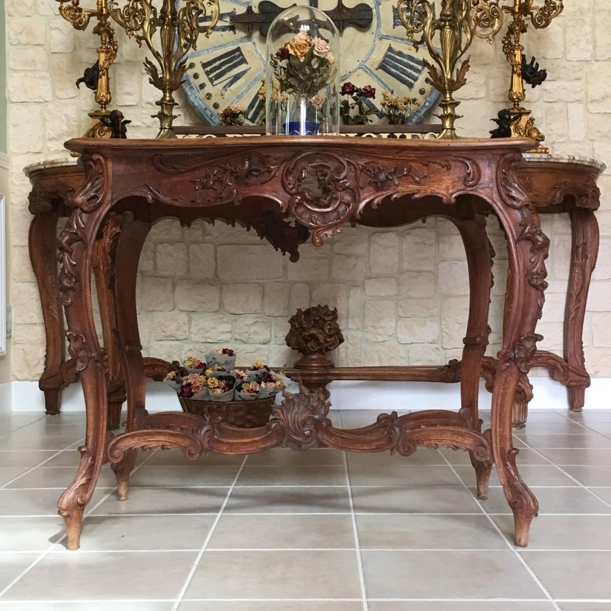 フランスアンティーク テーブル アンティークテーブル 19世紀 コンソールテーブル ルイ15世様式 ロココ様式 アンティーク家具_画像1