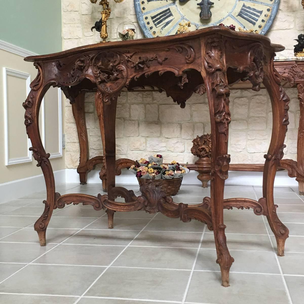 フランスアンティーク テーブル アンティークテーブル 19世紀 コンソールテーブル ルイ15世様式 ロココ様式 アンティーク家具_画像2