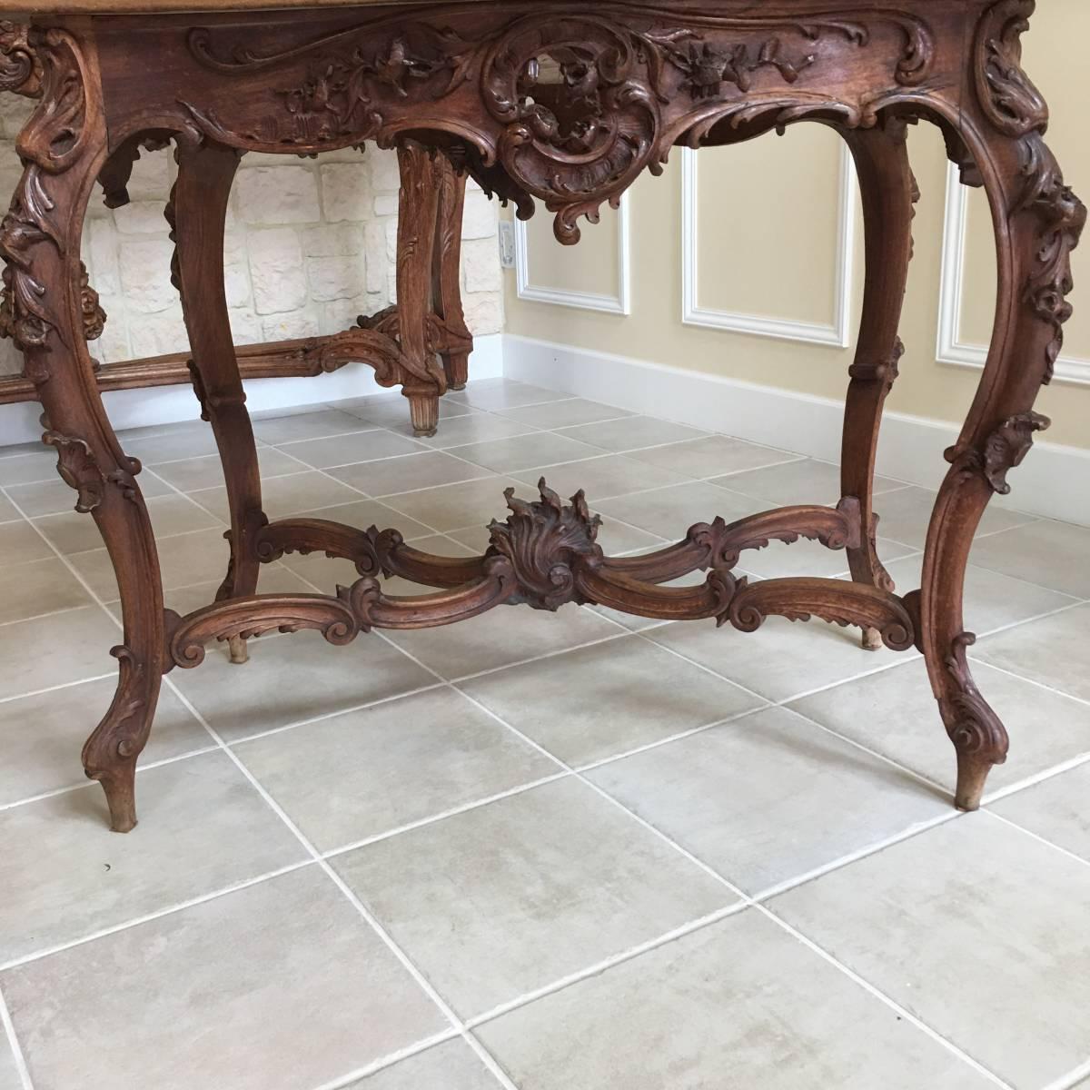 フランスアンティーク テーブル アンティークテーブル 19世紀 コンソールテーブル ルイ15世様式 ロココ様式 アンティーク家具_画像3