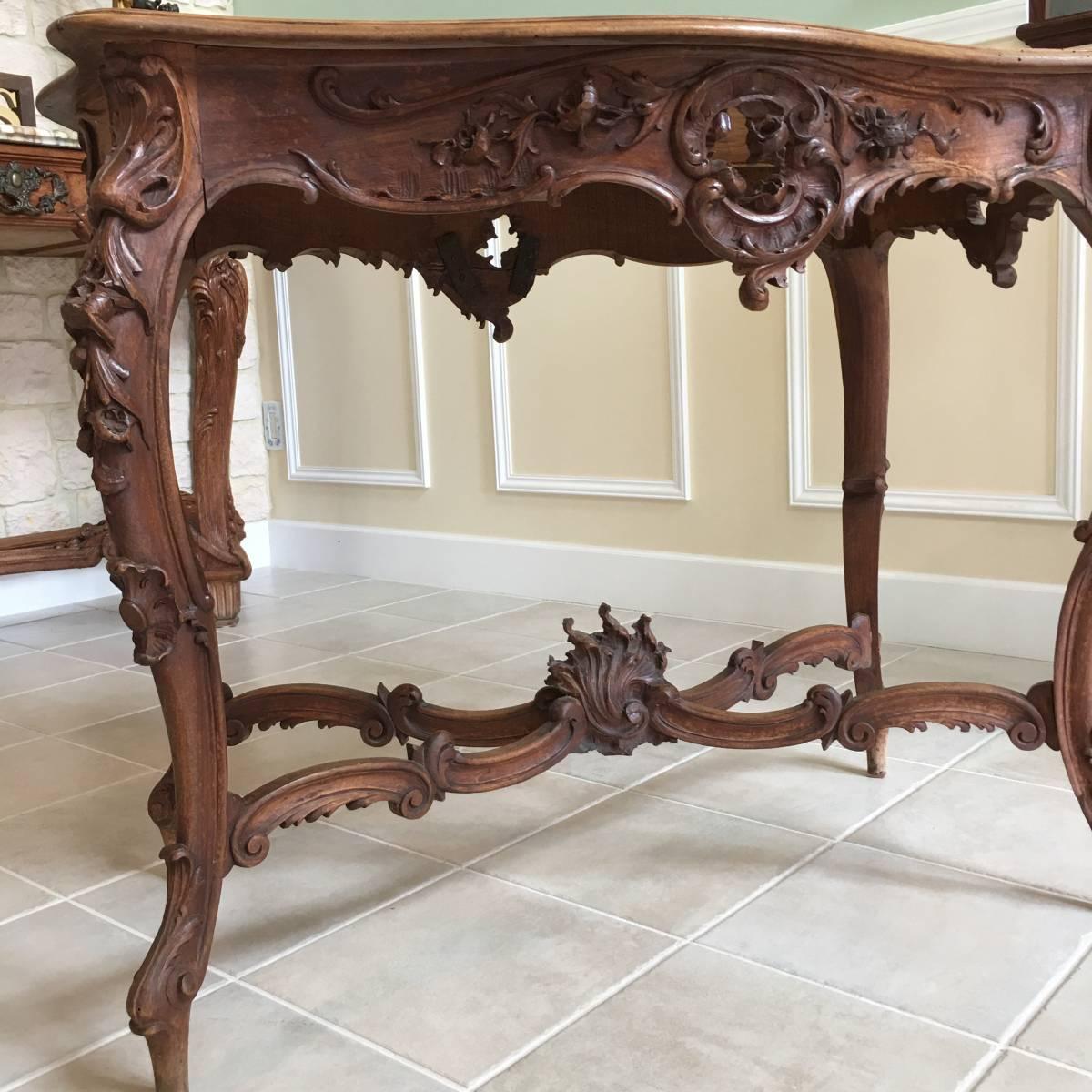 フランスアンティーク テーブル アンティークテーブル 19世紀 コンソールテーブル ルイ15世様式 ロココ様式 アンティーク家具_画像5