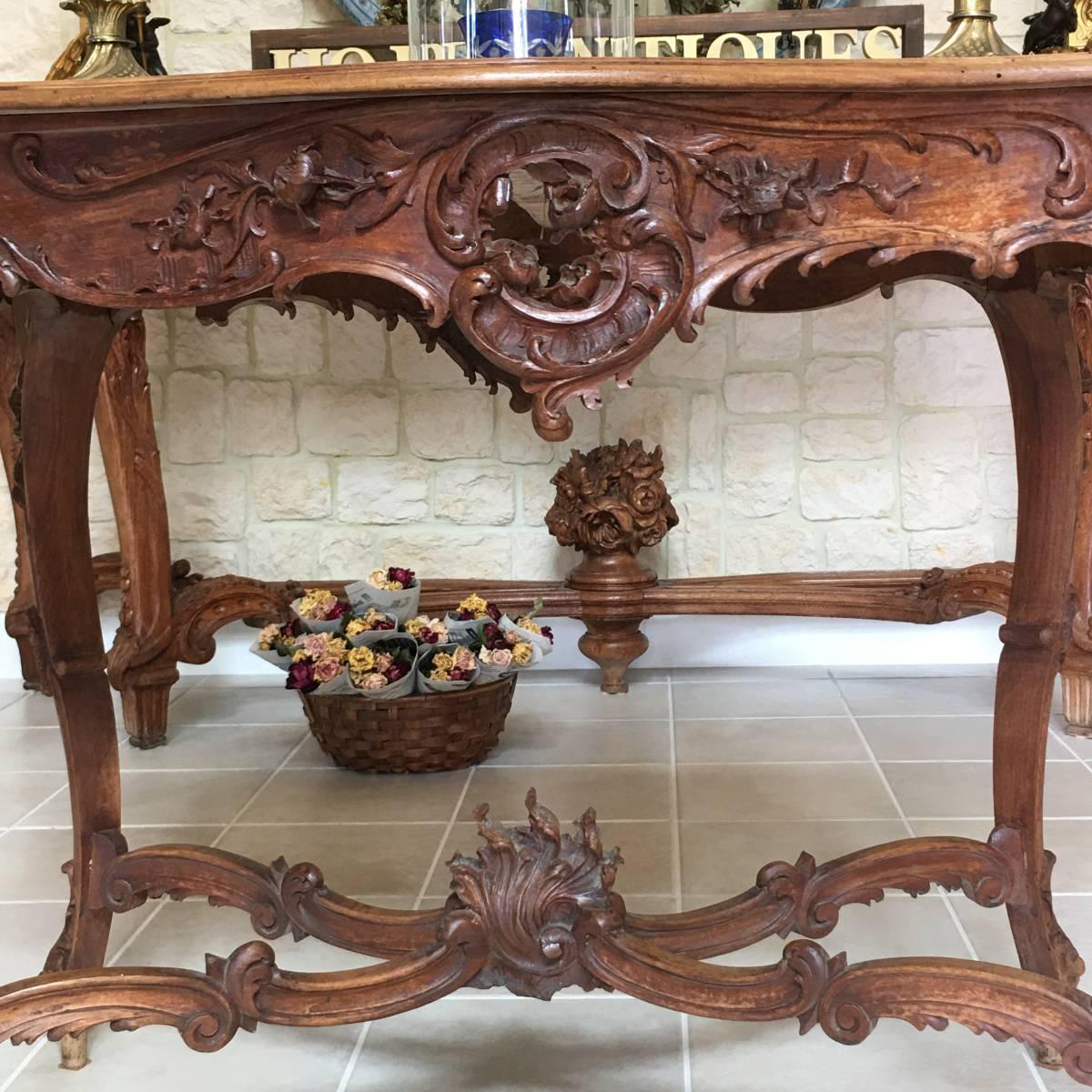 フランスアンティーク テーブル アンティークテーブル 19世紀 コンソールテーブル ルイ15世様式 ロココ様式 アンティーク家具_画像7