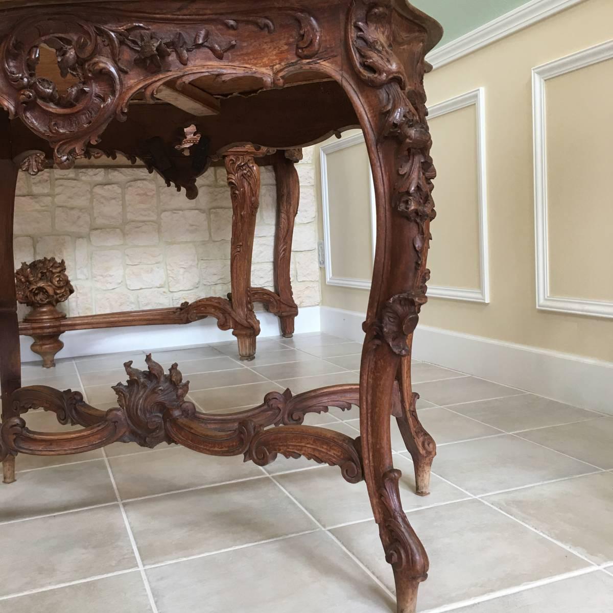 フランスアンティーク テーブル アンティークテーブル 19世紀 コンソールテーブル ルイ15世様式 ロココ様式 アンティーク家具_画像6