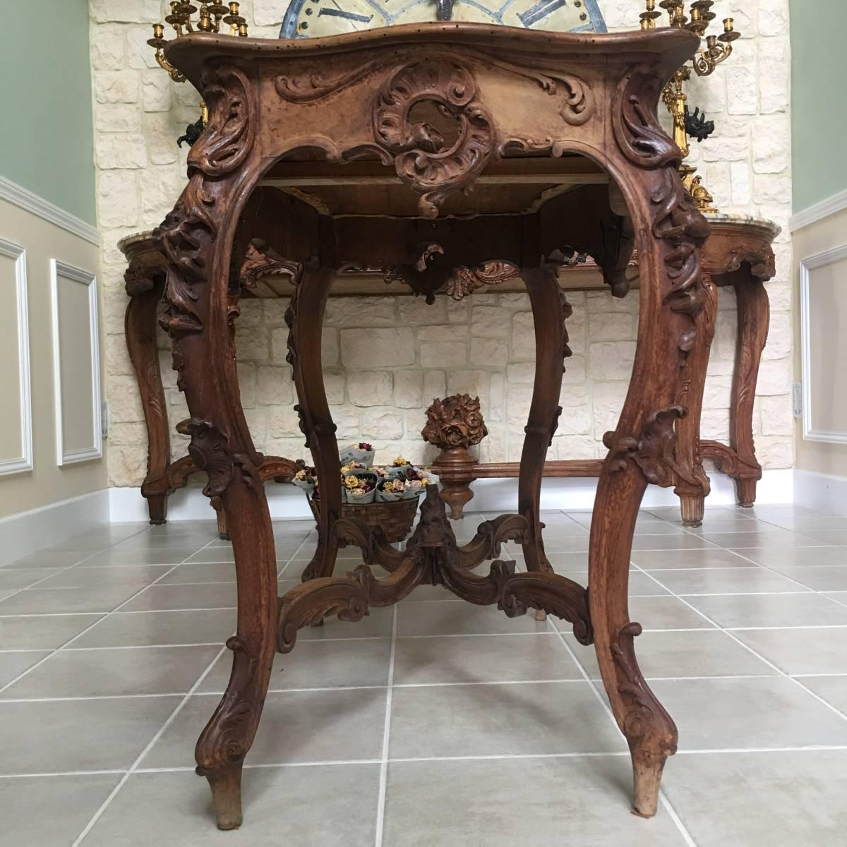 フランスアンティーク テーブル アンティークテーブル 19世紀 コンソールテーブル ルイ15世様式 ロココ様式 アンティーク家具_画像4