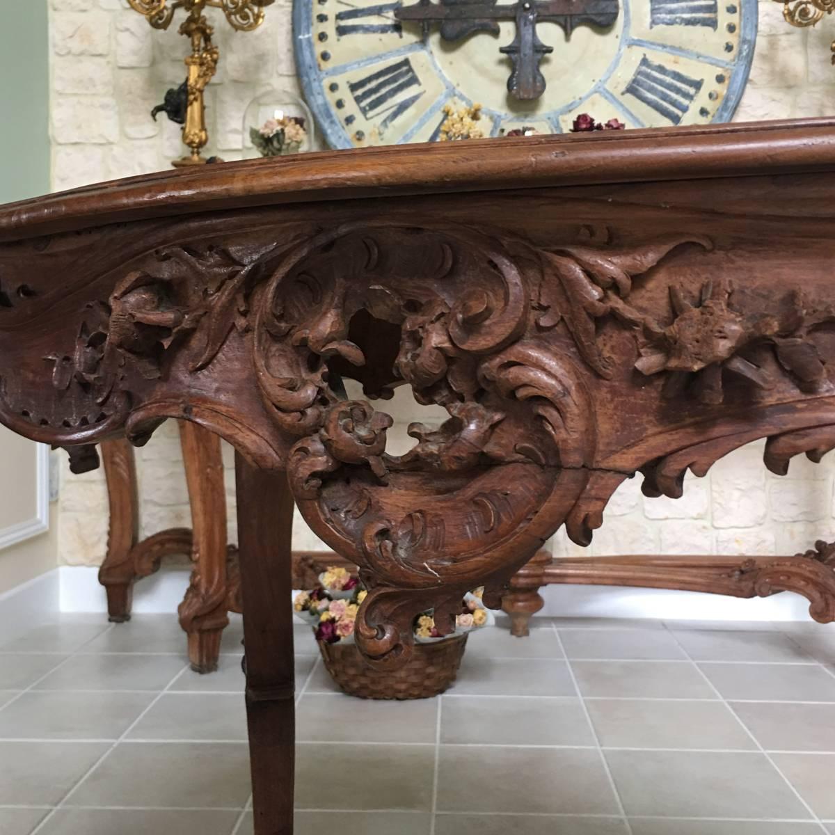 フランスアンティーク テーブル アンティークテーブル 19世紀 コンソールテーブル ルイ15世様式 ロココ様式 アンティーク家具_画像8