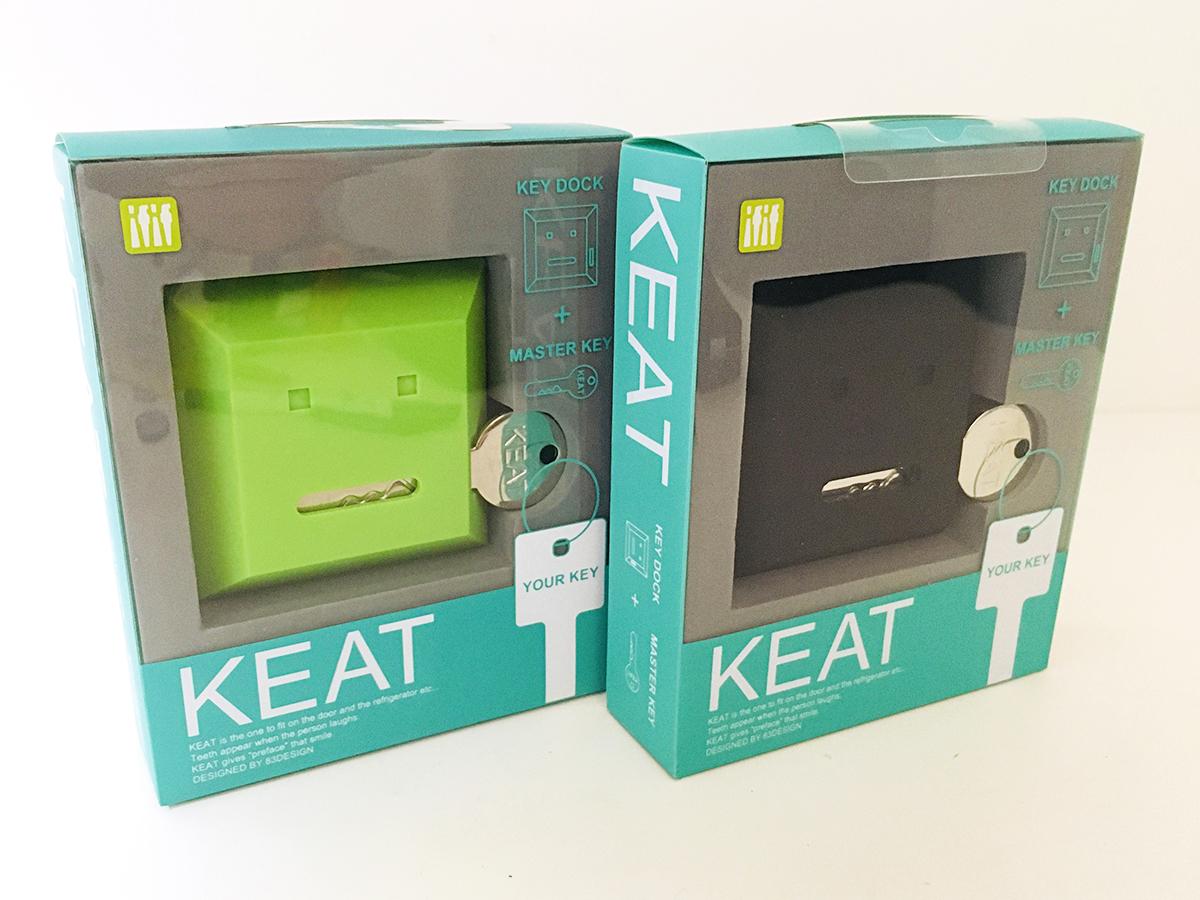 【 カギなくし防止 】 キート 「KEAT」グリーン&ブラック キースタンド 2個セット 【 鍵収納 】_画像1
