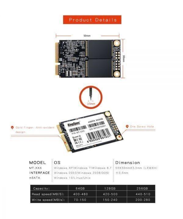 ★最安値!!安心の国内対応★KingSpec SSD mSATA 128GB 内蔵型 MT-128 3D 高速 3D NAND TLC デスクトップPC ノートパソコン DE021_画像5