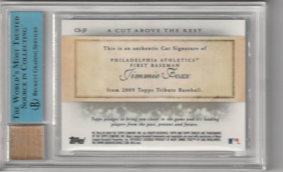2010 TOPPS TRIBUTE Jimmie Foxx CUT ABOVE REST Auto 直筆サインカード 1of1 RED SOX HOF _画像2