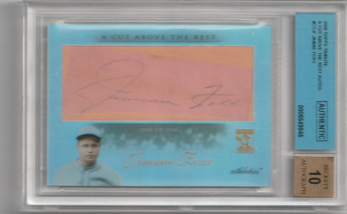 2010 TOPPS TRIBUTE Jimmie Foxx CUT ABOVE REST Auto 直筆サインカード 1of1 RED SOX HOF _画像1