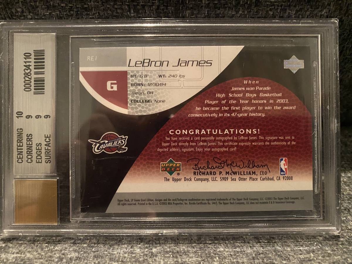 2003-04 SP GAME USED Lebron James ROOKIE EXCLUSIVES Auto 直筆サインカード /100 RC CAVALIERS LAKERS BGS9 MINT MVP_画像2