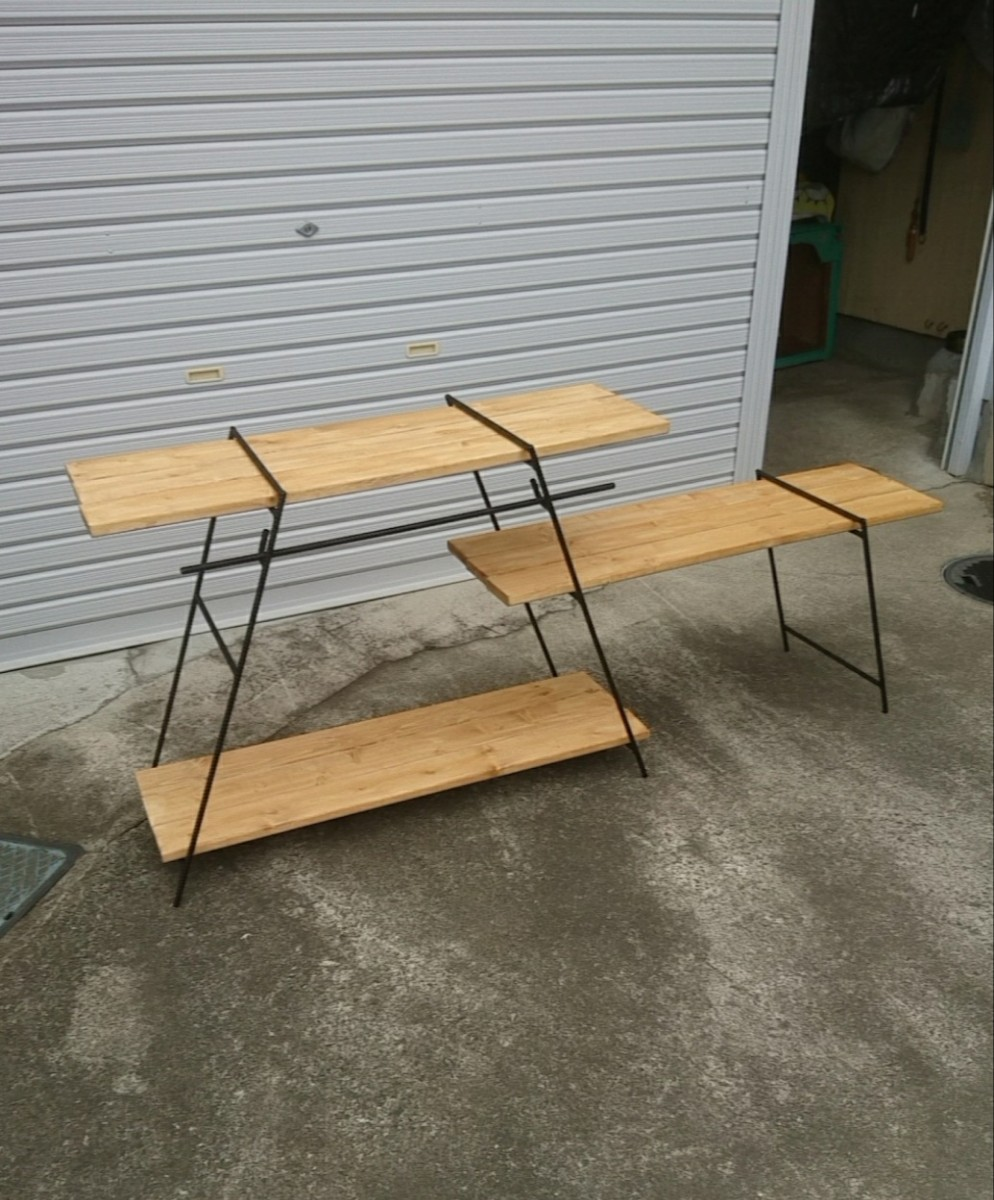 フック&棒 アイアンラック キャンプ アウトドア 棚 テーブル アイアンシェルフ