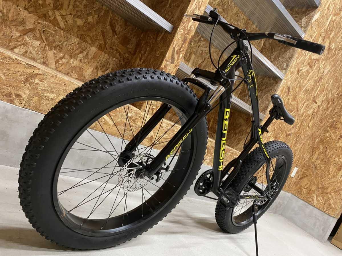 □新品未使用 26×4.0 ファットバイク B 黒/ビーチクルーザー 21段変速 自転車 コロナ対策 アウトドア ロードバイク マウンテンバイク□