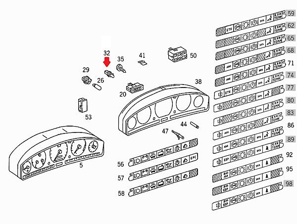 ベンツ OSRAM社 12V 1.2W ブルーソケットL メーターバルブ 2個セット(N000000000953) BENZ W168/W201/W202/W210/W140/W463/R129等_商品は部品図32です