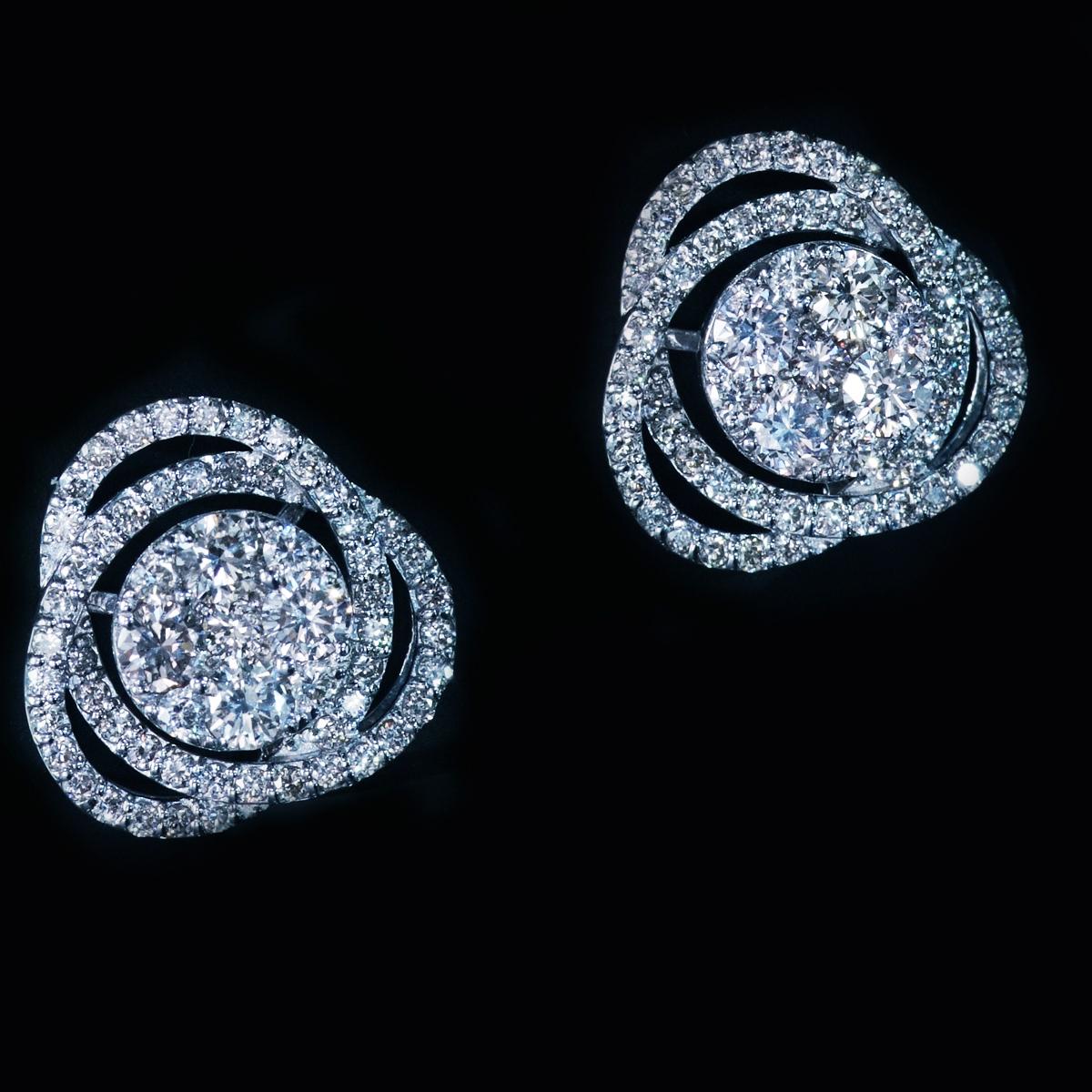 *PE3892 1円【BC新作ウェディングコレクション】天然絶品ダイヤモンド1.40ct 最高級18金WG無垢男女兼用ピアス 新品