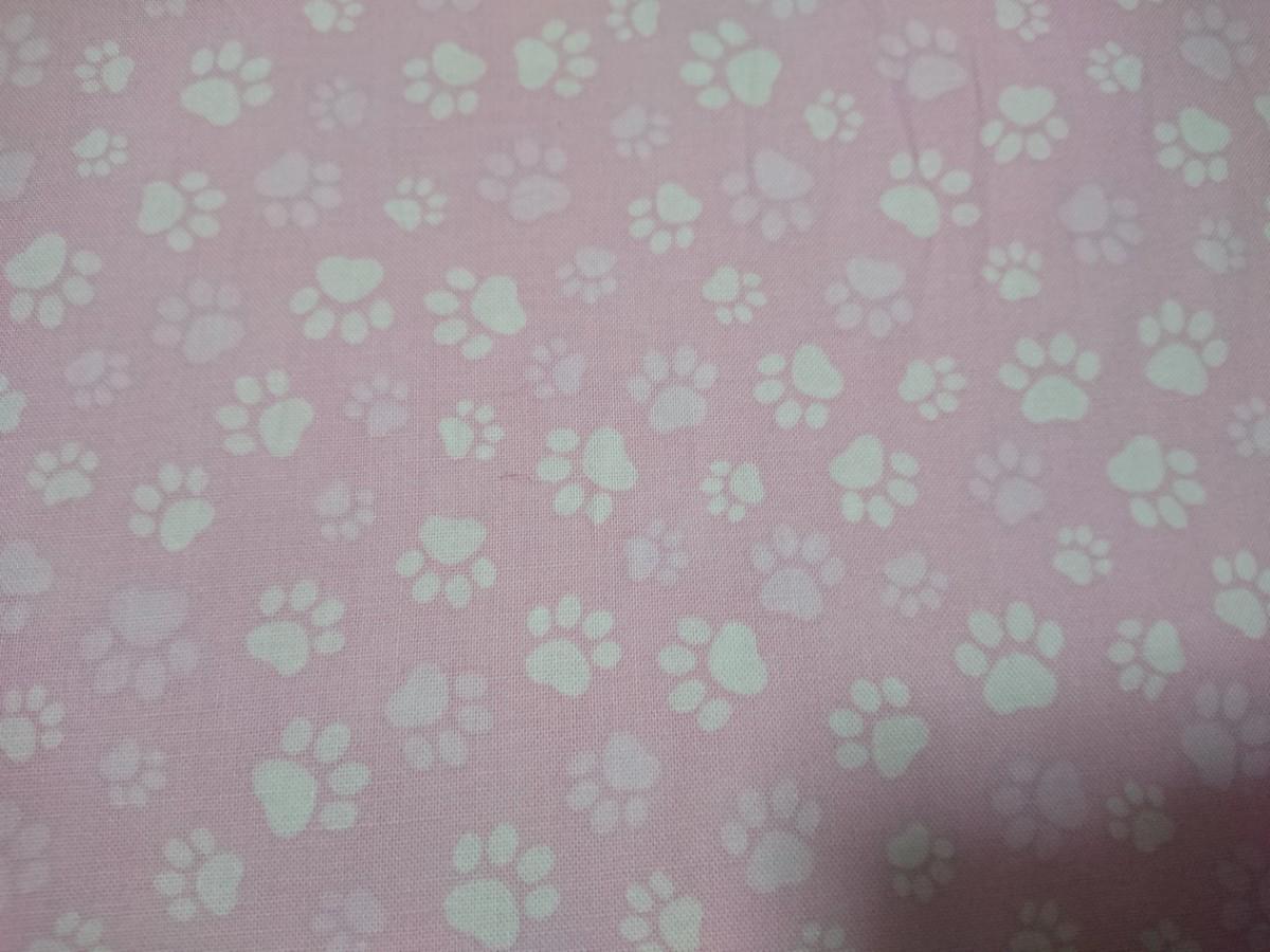 ☆シーチング 生地 はぎれ 肉球 猫 ピンクに白